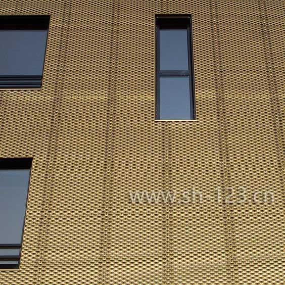 金色铝拉伸网幕墙